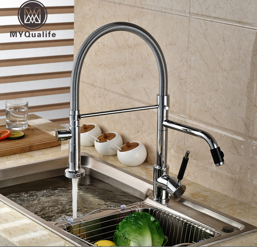 Deck Mount Dual Swivel Spout Kitchen Mixer Faucet Single Handle Pull Down Faucet Taps Chrome Finished цена и фото