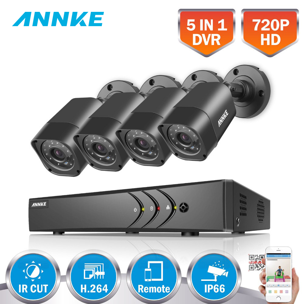 ANNKE 8CH 5 IN 1 DVR Kits Surveillance Camera HD 720P TVI CCTV Security System 1080N DVR Kit 1280TVL Outdoor Weatherproof Video zosi 1080n hdmi dvr 1280tvl 720p hd outdoor home security camera system 8ch cctv video surveillance dvr kit 1tb camera set