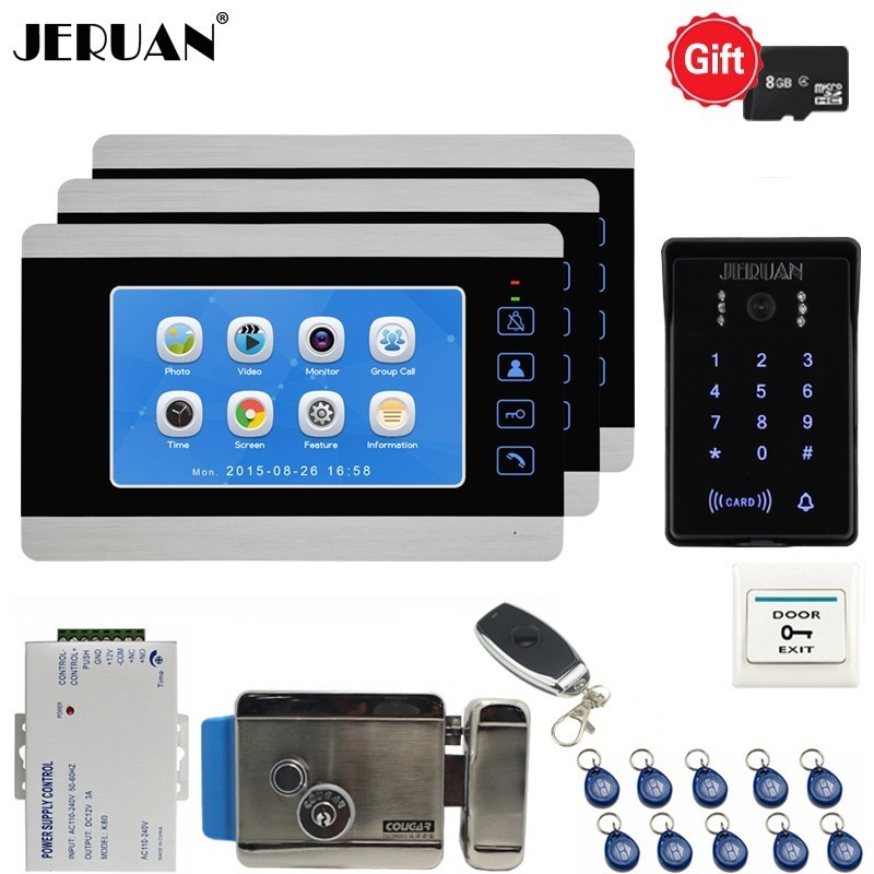 JERUAN 7 Inch LCD Video Doorbell Door Phone Voice/Video Recording Unlock Intercom System kit 3 Monitors Waterproof RFID Camera