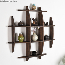 Shelves Stand-Decoration Chinese-Style Tea-Rack Display-Holder Wood Crafts Wood-Carving-Display