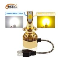 OKEEN Car 3000K 6000K H7 Dual Color H4 LED Bulb Headlight White Yellow 38W COB LED Headlights Fog Light H1 H3 H11 9005 9006 2Pcs
