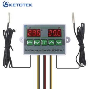 Цифровой двойной регулятор термостата переменного тока 110-220 в 12 В 24 В, реле температуры, регулятор температуры. Переключатель для инкубатор...