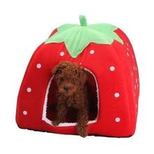 Pet Dog Washable Cat Litter Strawberry Bed House Kennel Doggy Warm Cushion Basket 3 Size