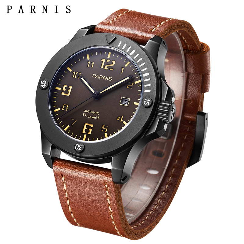 PARNIS Top Luxury Brand 2019 44mm Black Case Mechanical Automatic Mens Leather Watch Strap Luminous Calendar Men Watches ClockPARNIS Top Luxury Brand 2019 44mm Black Case Mechanical Automatic Mens Leather Watch Strap Luminous Calendar Men Watches Clock