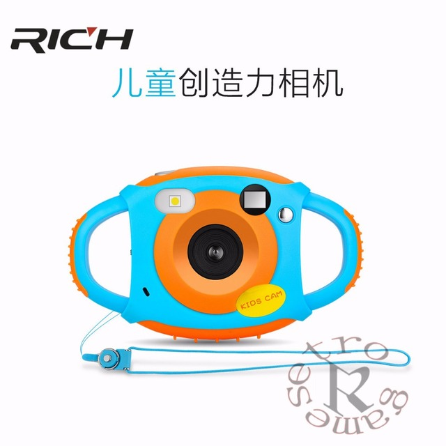 RICH Mini Digital Kids Cameras 5MP HD Projection photo Digital Portable Cute Neck Child Photography Video Camera Kids Gift