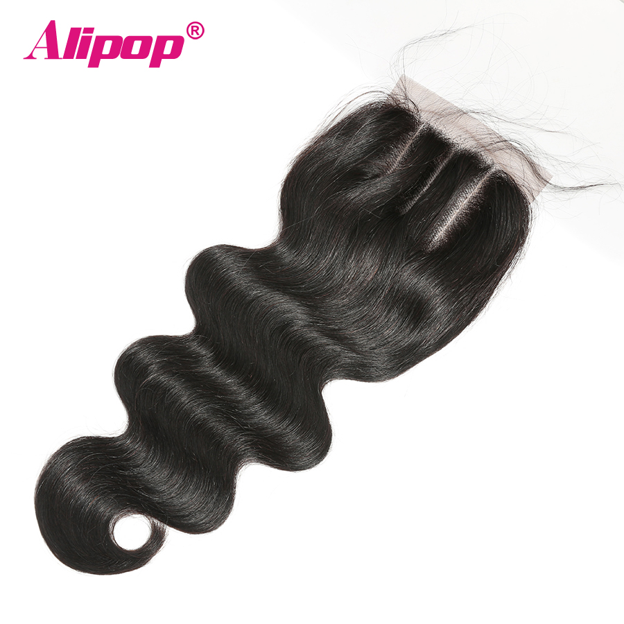 Closure Brazilian Hair Body Wave Lace Closure Human Hair 4x4 Top Swiss Lace Pre-Plucked With Baby hair Remy Natural Black ALIPOP (4)