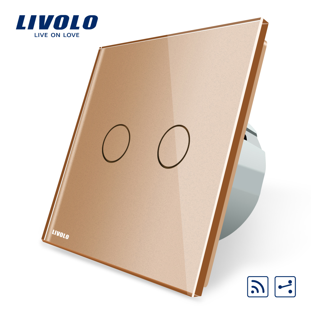 Livolo EU standard Touch Remote Switch, 2Gangs 2 Way, AC 220~250V , Golden glass panel ,Without Remote Controller , VL-C702SR-13 livolo remote switch with crystal glass panel wall light remote touch led indicator 3gang 1 way vl c503r 11 12 without remote