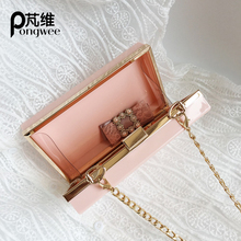 PONGWEE fashion new product small square bag solid color pink wild for each place single shoulder diagonal package