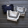 Muchachas de la camiseta 2016 nueva primavera de la marca del bebé azul marino camiseta del color del caramelo niño de manga larga camisa de la muchacha de volantes de la muchacha linda camiseta