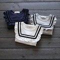 Primavera de 2016 nova marca marinha de cor doce babados bonito da criança de manga comprida t-shirt
