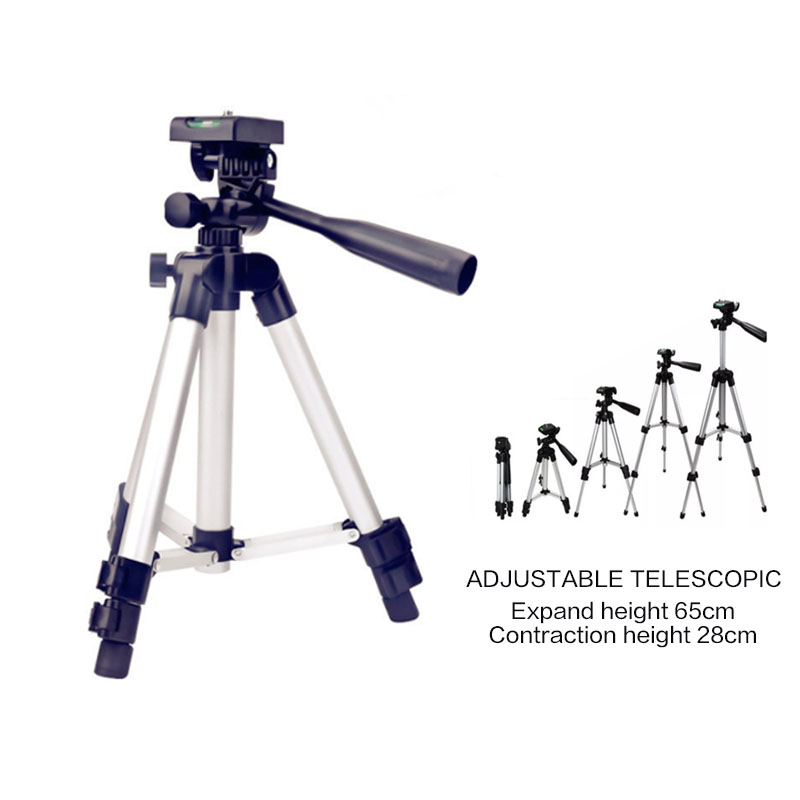 Aluminum Three Section Camera Photography Mobile Tripod 360 Degree Fluid Head Fishing Light Bracket Tripod Mobile Phone Holder in Live Tripods from Consumer Electronics