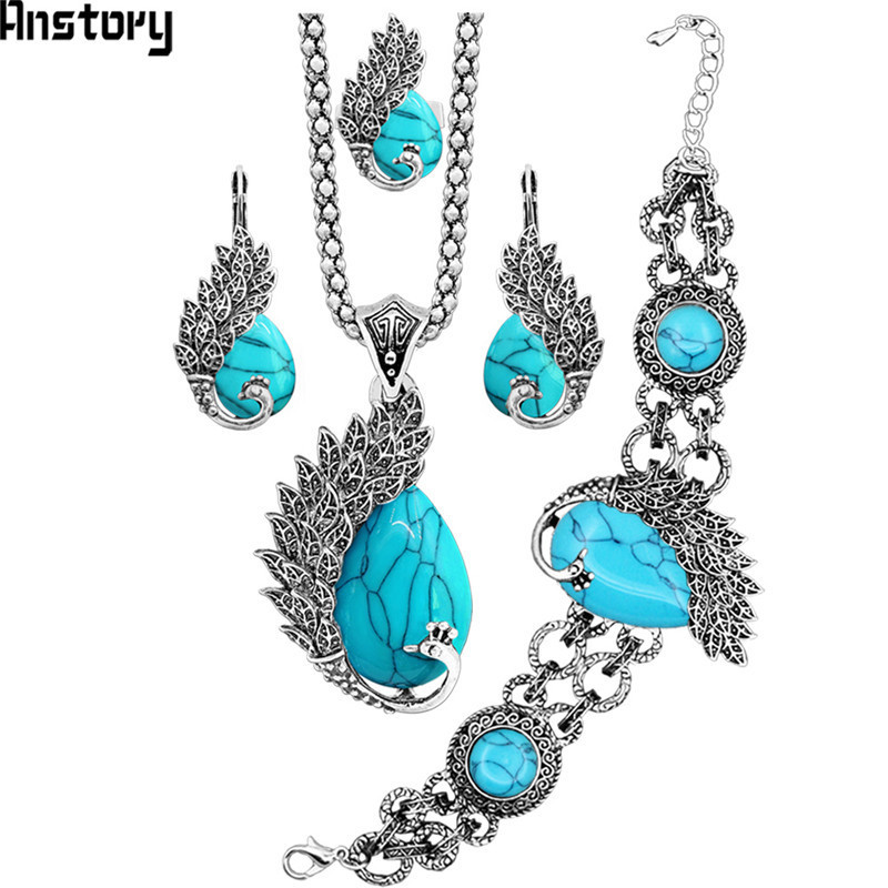 цены Vintage Peacock Stone Jewelry Set Necklace Earrings Bracelet Ring For Women Antique Silver Plated Fashion Jewelry Set