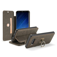 CaseMe Leather Case For Samsung Galaxy S8 Plus Flip Wallet Functional 360 Degree Rotating Finger Ring