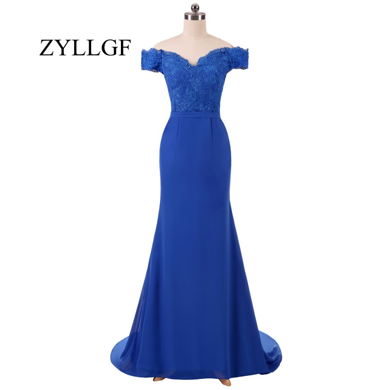 ZYLLGF Blue Bridesmaid Dresses Long Mermaid Sweetheart Off Shoulder Dress For Bridesmaid With Appliques MFD10