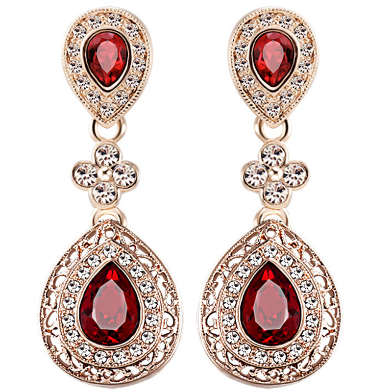 Peerlessly beautiful earrings long design ruby stud earring rose ...