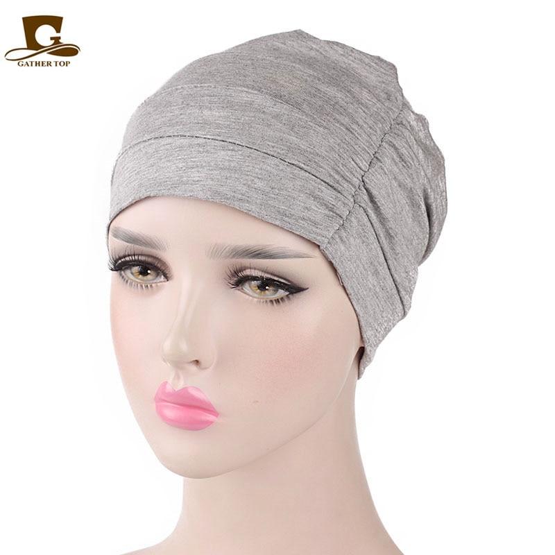 Dropwow New Womens Soft Comfy Chemo Cap and Sleep Turban Hat Liner for  Cancer Hair Loss Cotton Headwear Head wrap Hair accessories 44102e49136a
