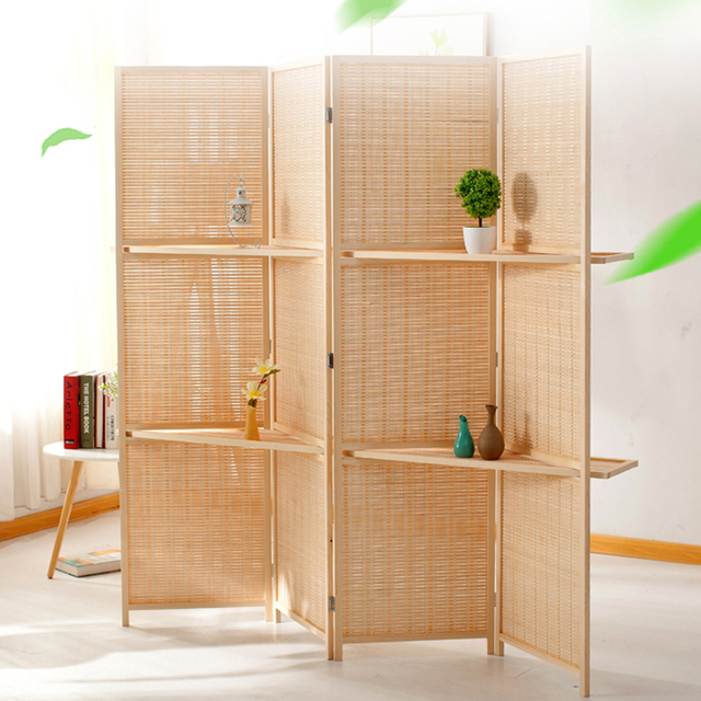 Bamboo 4 Panel Folding Room Divider Screen W/ Removable Storage Shelves  Hinged Privacy Screen Portable