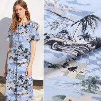2019 new Island amorous feelings 37M/M print spun silk fabric for dress tissu tecidos tissus au metre tela seda shabby chic DIY