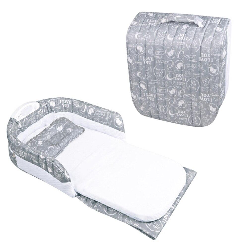 2019 offres spéciales coton imprimé Portable berceau bébé blottir nid infantile dormeur lit couffin avec poignée veilleuse musique