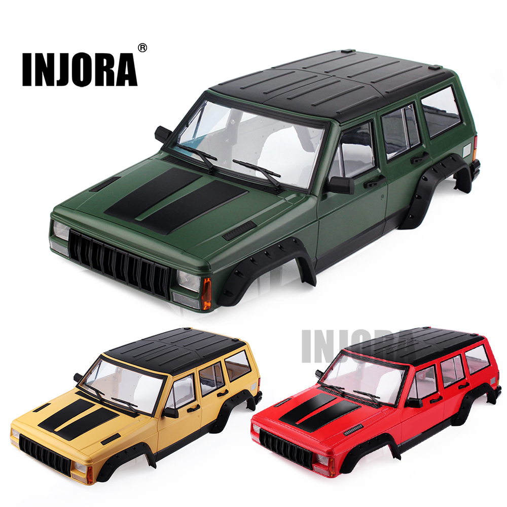 INJORA Painted Hard Plastic 313mm Wheelbase Body Car Shell for 1/10 RC Crawler Axial SCX10 & SCX10 II 90046 90047 injora rc car 1 10 scale black rubber snorkel for axial scx10 ii 90046 90047 body shell parts