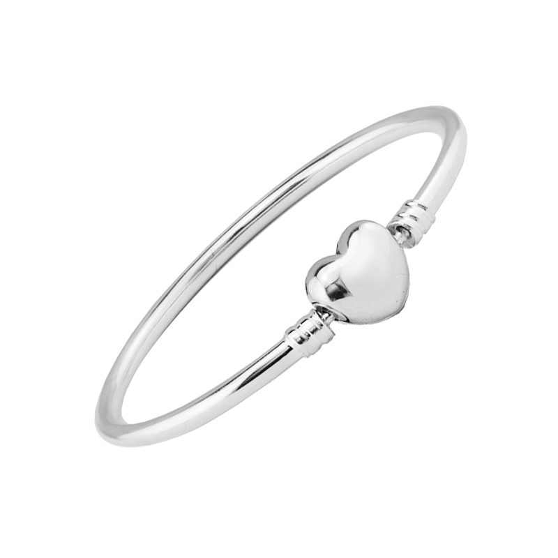 Heart Shape Silver Clasp Bangles for DIY Jewelry Making Fashion Silver 925 Logo Charms Bracelets & Bangles for Women Jewelry