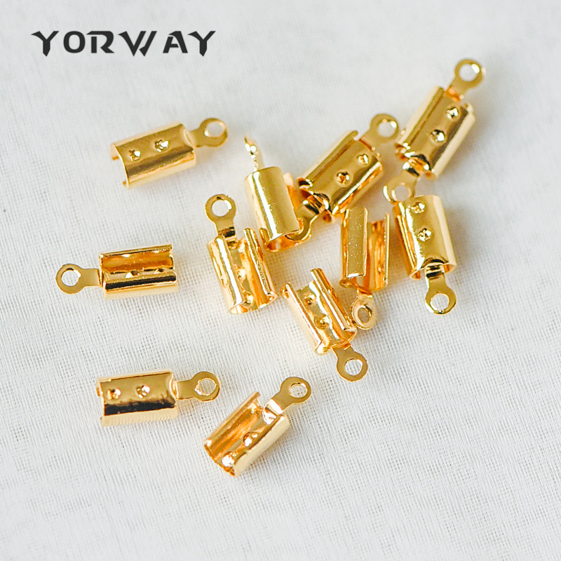 20PCS 4.5mm Brass Leather Cord End Caps Platinum With Loop for Leather 9x6mm Jewellery Findings