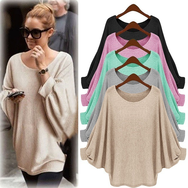 2018 New sweater Women candy color Oversized Batwing Knitted Pullover Loose Sweater Knitted Tops high quality clothing