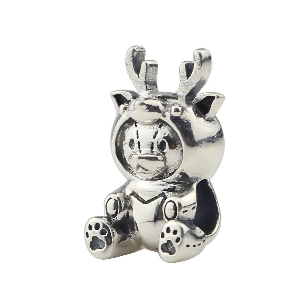 Véritable 925 argent Sterling Milu ours perles animaux charmes Fit européen Original 3mm Troll Bracelet bijoux