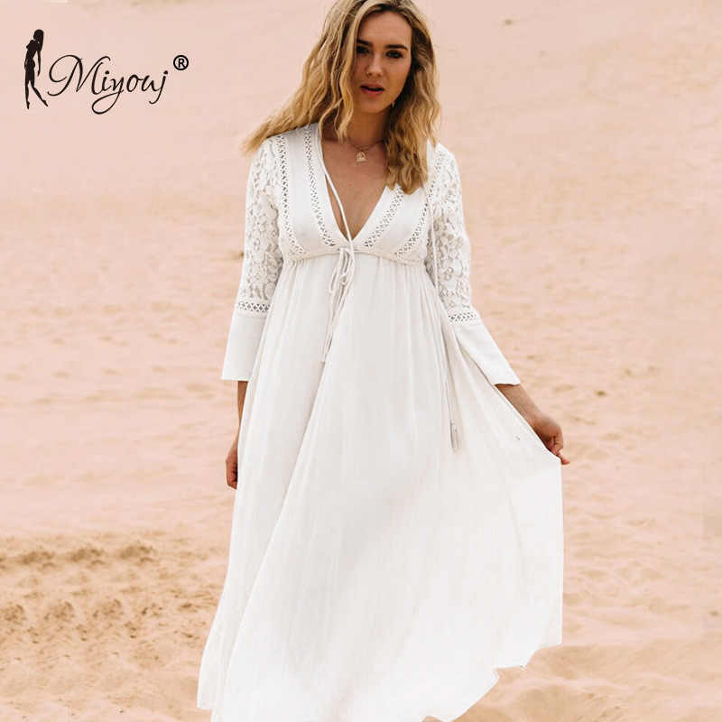 Miyouj Kaftan Long Beach Dress 2018 Baju Renang Wanita Baju Renang Tunik Beach Gaun Beachwear Cover Up Jubah Crochet Vestido Playa