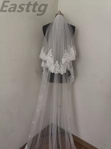 Image 4 - Echte Foto Wit/Ivoor Hoge Kwaliteit 2 T Lace Edge 3M Kathedraal Bruiloft Sluier Met Kam Bridal Veils accessoires Velos De Novia