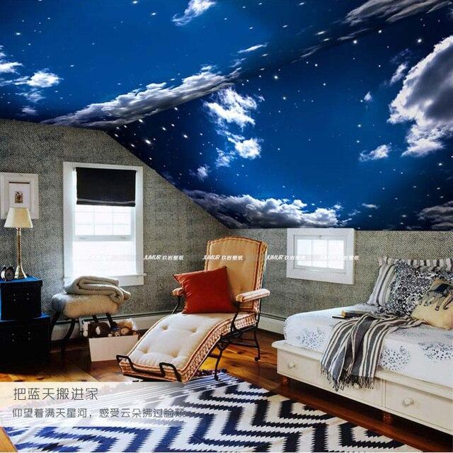 Moderne 3D Wallpaper Blauer himmel und Weiße wolken Fototapete ...