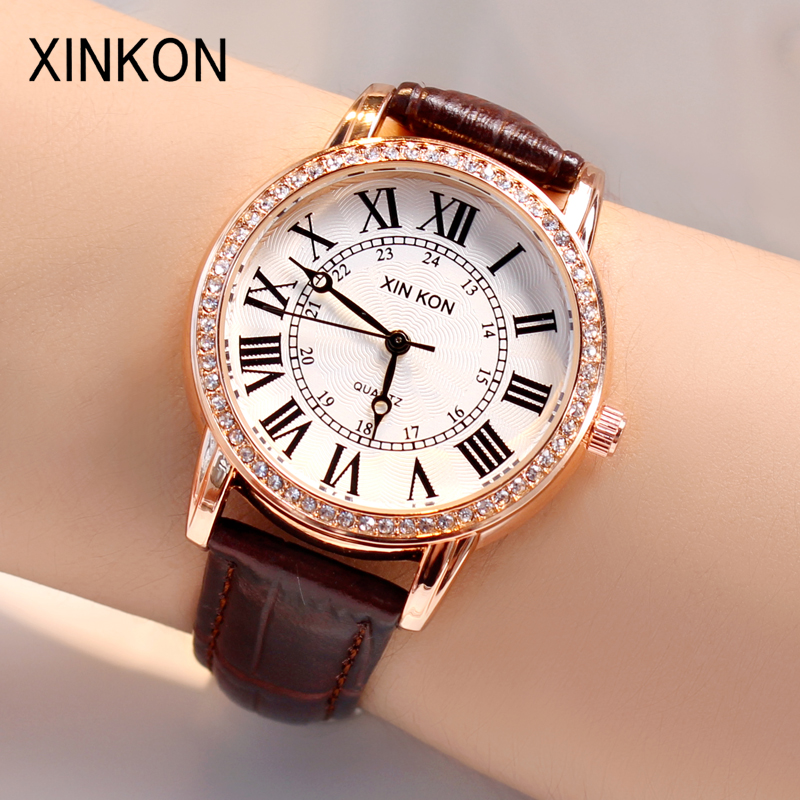 XINKON Fashion Women Watches Lady Watch Luxury Leather Quartz Wrist Watch Girls Women Ladies Gifts Students Present Dropshipping