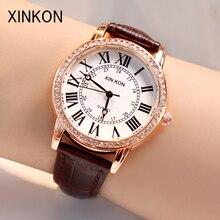 XINKON модные женские туфли женские часы роскошные кожаные кварцевые наручные часы обувь для девочек для женщин Дамы подарки студентов подаро