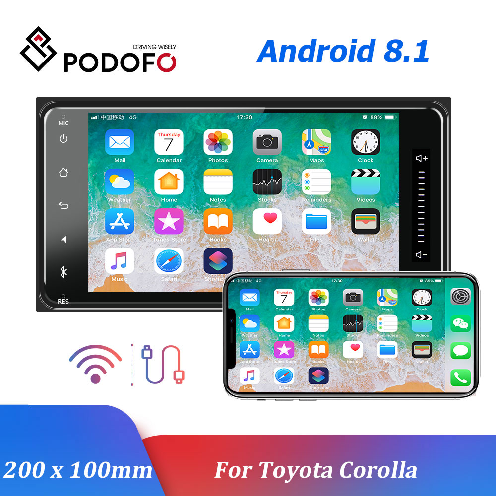 Podofo Android 8.1 Car Multimedia Player GPS Car Radios 2 Din 7'' Auto Radio Bluetooth Auto Audio FM AUX USB For <font><b>Toyota</b></font> <font><b>Corolla</b></font> image