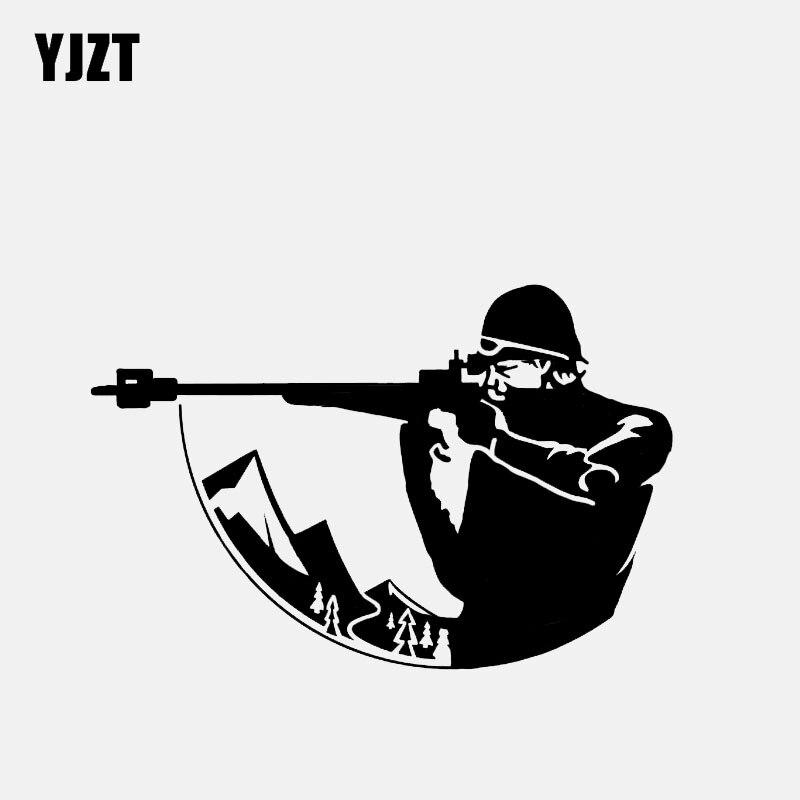 YJZT 13.1*8.7CM Fashion Biathlon Cross Country Ski Race Rifle Sports Decor Car Modelling Sticker Graphic Vinyl C12-1540