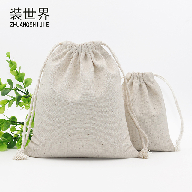 19.5cm 23cm Promotion Custom Printed Muslin Shopping Plain Canvas Cotton Drawstring  Bag 762e7c5b3