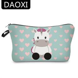 Daoxi 3D Единорог сумочка-косметичка с принтом Милые Корова сердце Организатор Для женщин Макияж первой необходимости для путешествий YY10183