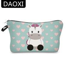 DAOXI 3D unicornio impresión de bolsas de cosméticos lindo Corazón de vaca organizador mujeres maquillaje necesidades para viajes YY10183