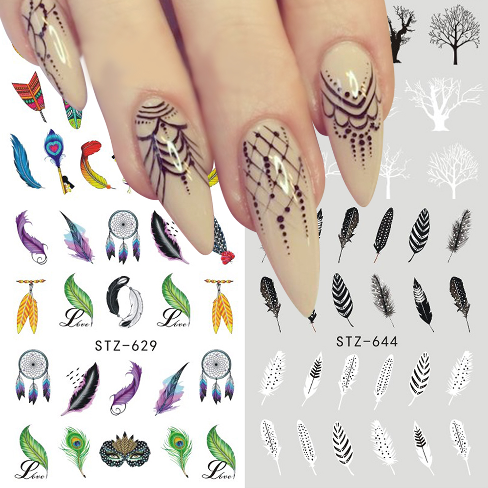 1pcs Nail Art Sticker Water Transfer Decal Dreamcatcher Feather Design For Nail Watermark Polish Tattoos Sliders SASTZ609-657 ...