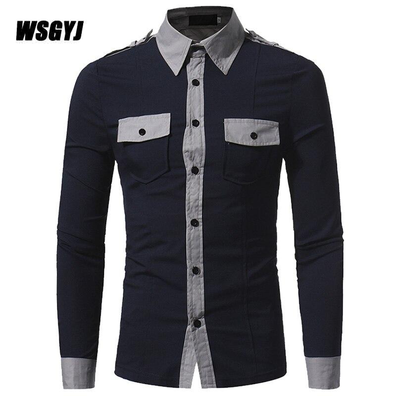 Camisa Social Masculina 2017 Fashion Brand font b Men S b font Double Pocket Badges Male
