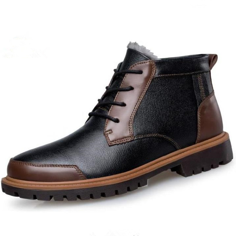ФОТО Men 's winter cotton shoes leather casual Martin boots Small code 36 37 Plus Size 46 47 Plus velvet short boots boty obuv Schuhe