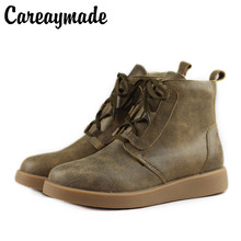 Careaymade-Womens Winter Boots Plush Female Shoe 100% Genuine Leather Ladies Ankle handmade Lace up Footwear Woman boots