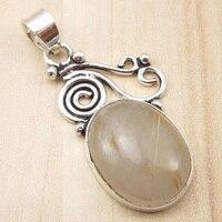 DESIGNER Pendant GOLDEN RUTILE Quartzs OXIDIZED Silver Plated Jewelry 1 6 Inch