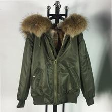 Comfortable warm Winter Natural raccoon fur collar jacket with faux fur inside bomber coat