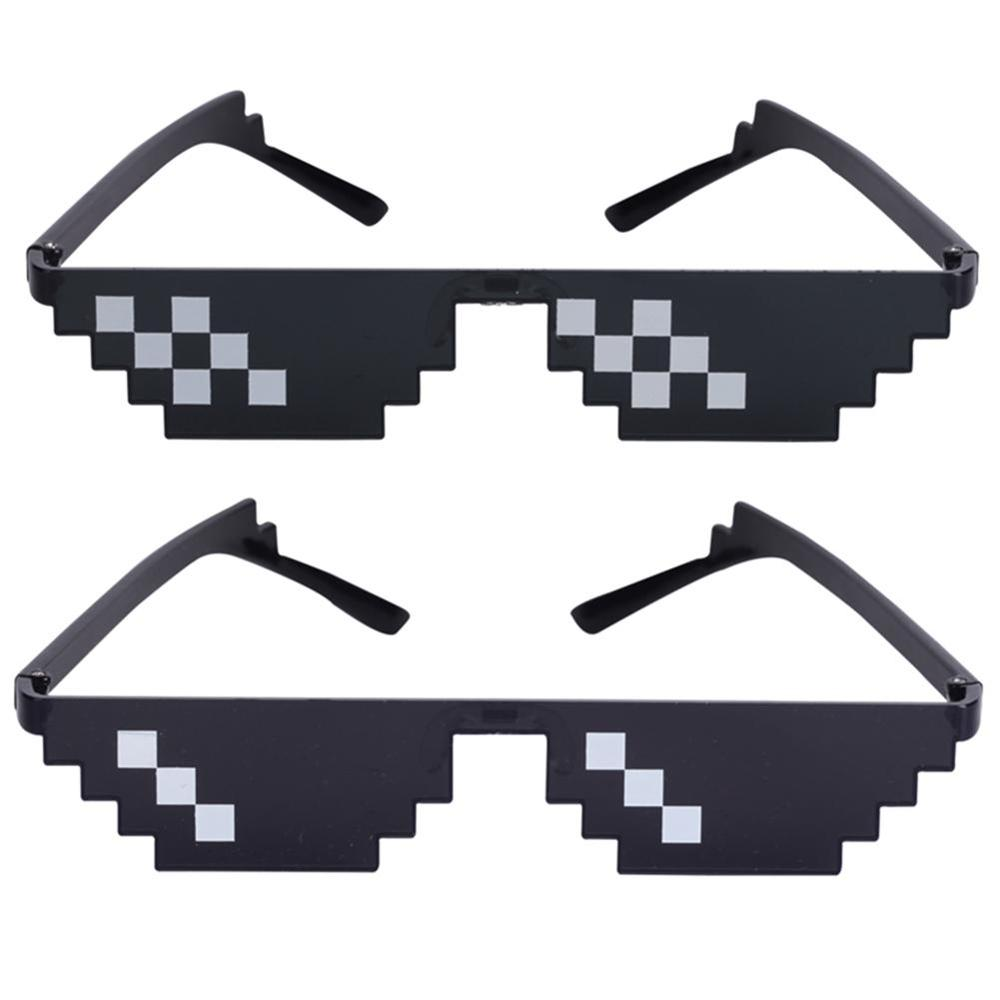 Funny Spoof Glasses Toy Thug Life Glasses 8 Bit Pixel Unisex Toys Anti-stress Sunglasses Toys Emoji Eyewear For April Fool's Day