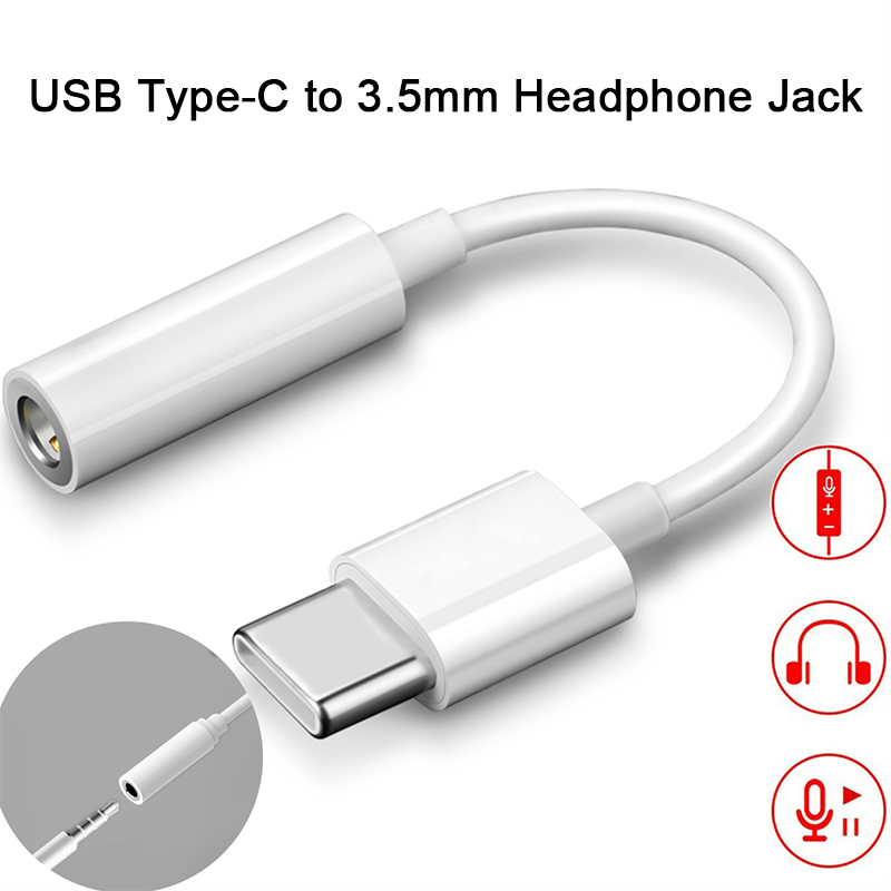 Type C 3.5 Jack Earphone Cable USB C To 3.5mm AUX Headphones Adapter For Huawei P10 P20 Pro Xiaomi Mi 6 8 Audio Cable