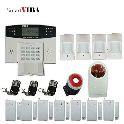 SmartYIBA Home GSM SMS Security Alarm System Metal Remote Controller Strobe&Flash Siren Alarm Kits Wireless Home Alarma