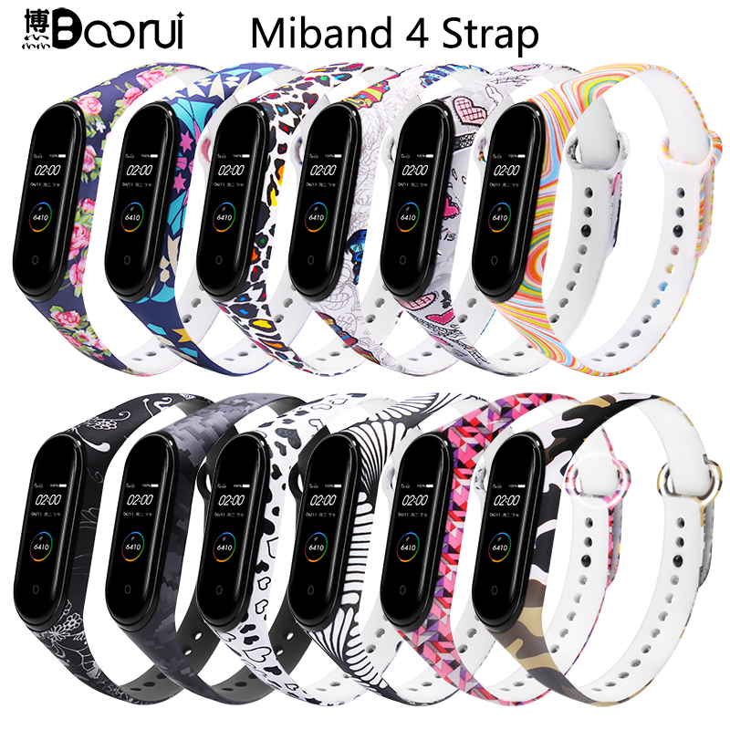 BOORUI Mi Band 4 Strap Silicone Miband 4 Global Accessories Sports Wrist Strap Replacement For Xiaomi Mi Band 4 Smart Bracelets