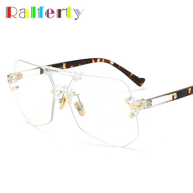 02c72c83b1d Ralferty Vintage Hexagon Transparent Glasses Men Women Sunglasses Male  Female Oversized Big Rimless Shades UV400 Sun TF97301