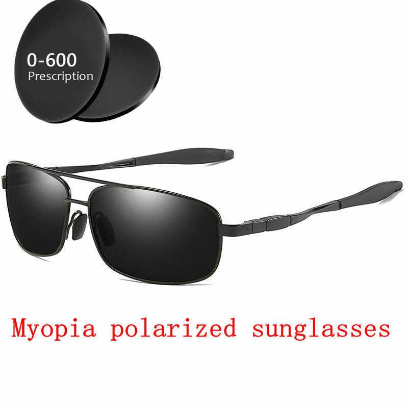 5fb3e5275b2 Diopter Finished Myopia Polarized Sunglasses Men Women Nearsighted Glasses  Fashion Metal square men s driving goggles UV400